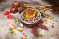 Christmas creme caramel dessert for kids in the shape of a house Stock Photography