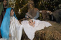 Christmas crib with child jesus father josef and virgin mary in stable at gdansk Stock Photography