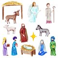 Christmas Crib, Holy Family, Christmas nativity scene with baby Jesus, Mary and Joseph in the manger with sheep, cow Royalty Free Stock Photo