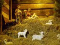 Christmas crib traditional figures representing holy family and animals Royalty Free Stock Photo