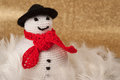 Christmas crochet snowman handmade fat Stock Images