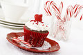 Christmas cupcake decorated chocolate with vanilla frosting and candy canes Stock Images