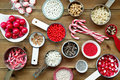 Christmas cupcake decorations and sprinkles Royalty Free Stock Image