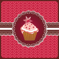 Christmas cupcake on the doily. Stock Photo