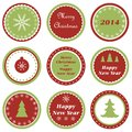 Christmas cupcake toppers set of tags for and new year Royalty Free Stock Photo