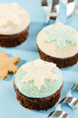 Christmas cupcake with white and blue snow flake decoration Stock Photography