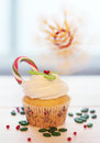 Christmas cupcake on a wooden table Stock Photography