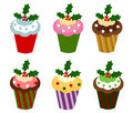 Christmas cupcakes Stock Photos