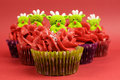 Christmas cupcakes with fun and quirky reindeer faces selective focus face toppings in modern festive red lime green colors for or Royalty Free Stock Image