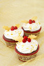 Christmas cupcakes in gold Royalty Free Stock Image