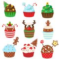 Christmas cupcakes. Sweet bakery. New Year food. Vetor icons Royalty Free Stock Photo