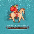 Christmas cute baby card with santa claus vector illustration Stock Photo