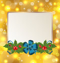 Christmas cute card with mistletoe and bow Stock Photo