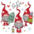 Christmas Cute Cartoon Gnomes on a white background