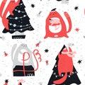 Christmas cute hand drawn seamless vector pattern Royalty Free Stock Photo