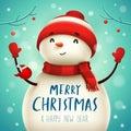 Christmas Cute Little Cheerful Snowman.