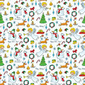 Christmas cute seamless pattern with angel and deer Royalty Free Stock Photo