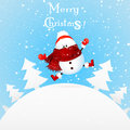 Christmas Cute Snowman  feeling excited  cartoon illustration. Royalty Free Stock Photo