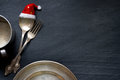 Christmas cutlery on the table abstract food background Royalty Free Stock Photo