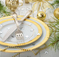 Christmas cutlery on a white table Royalty Free Stock Image