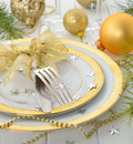 Christmas cutlery on a white table Stock Photography
