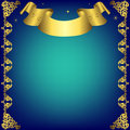 Christmas dark blue  frame with golden ribbon Royalty Free Stock Photo