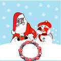stock image of  Christmas Day holidays greeting card. Santa Claus and snowman gift boxes . Xmas and New Year festive design