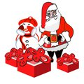 Christmas Day holidays greeting card. Santa Claus and snowman gift boxes . Xmas and New Year festive design