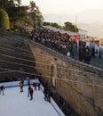 Christmas days at san marino people durin ice rink Stock Photos