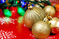 Christmas decor background a variety of themed on a vibrant Stock Image