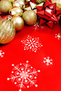Christmas decor background a variety of themed on a vibrant Stock Photo