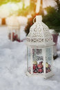 Christmas decor balls and lamp Royalty Free Stock Photography