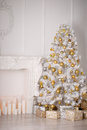 Christmas decor in white tone Royalty Free Stock Photo