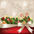 Christmas decorate with white ribbon Stock Photos