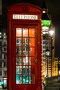Christmas decorated classic phone bos in Westminster, London Royalty Free Stock Photo