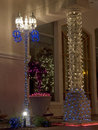 Christmas Decorated Column and Lamppost Royalty Free Stock Photography