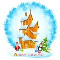 Christmas decorated house easy to edit illustration of santa in with gift Stock Photography
