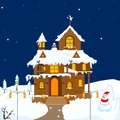 Christmas decorated house easy to edit vector illustration of for Stock Images