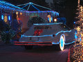 Christmas decorated house and phantom zimmer luxur luxury car a u s neo classic automaker that used to build just a few cars per Stock Photography