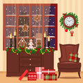 Christmas decorated room with armchair, window, toys, gifts