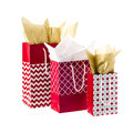 Christmas decorated tote bags paper with pattern isolated Royalty Free Stock Photo