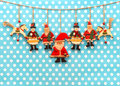 Christmas decoration with antique hand made wooden toys sentimental nostalgic retro style picture Royalty Free Stock Photo