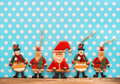 Christmas decoration with antique handmade wooden toys sentimental nostalgic retro style picture Royalty Free Stock Image