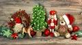 Christmas decoration antique toys Teddy Bear Nutcracker Royalty Free Stock Photo