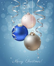 Christmas decoration background with balls and ribbons Stock Photography