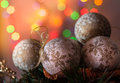Christmas decoration balls on abstract background shallow depth of field Stock Images