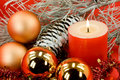 Christmas decoration with balls and lighted candle Royalty Free Stock Photography
