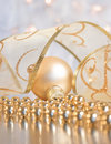 Christmas decoration - bauble with ribbon Royalty Free Stock Photos