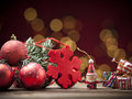 Christmas decoration beautiful with red toys Stock Image