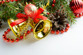 Christmas decoration bell, pine cones and branch Royalty Free Stock Photo